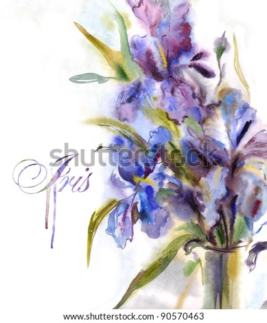 Bouquet of irises. Watercolor painting - stock photo