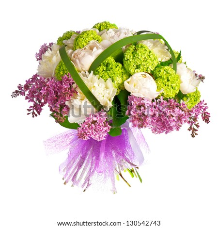 bouquet of lilacs, roses and irises - stock photo