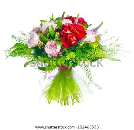 bouquet of paeonia, veronica, eremurus, godetia - stock photo
