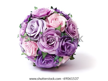 Bouquet of pink and violet roses - stock photo