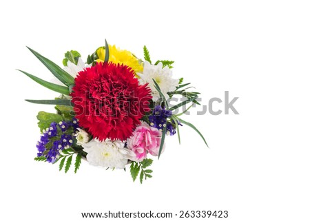 Bouquet of pink carnations and chrysanthemum Flower on white background - stock photo