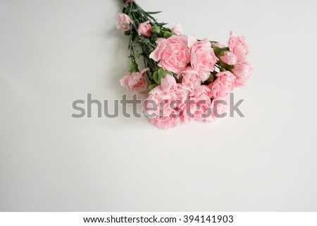 Bouquet of pink carnations on white - stock photo