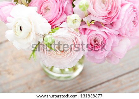 Bouquet of pink ranunculus (buttercup) - stock photo