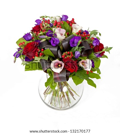 bouquet of pink, red and violet flowers isolated on white - stock photo