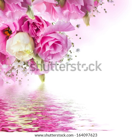 Bouquet of pink roses and butterfly, floral background - stock photo