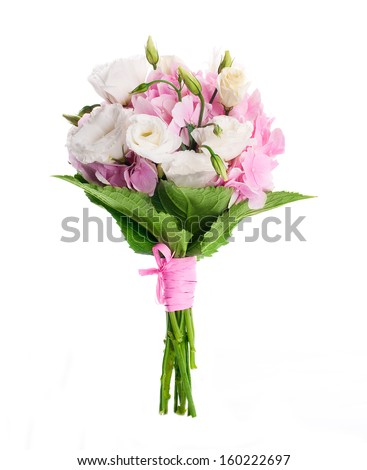 Bouquet of pink roses, floral background - stock photo
