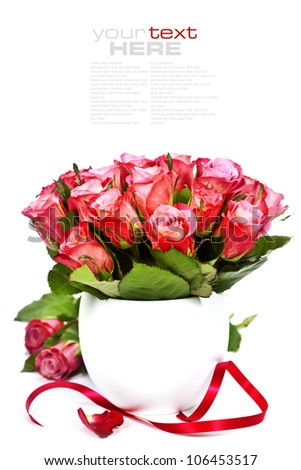 bouquet of pink roses in a pot on the white background (with easy removable sample text) - stock photo