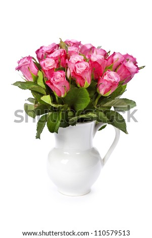 bouquet of pink roses in vase - stock photo
