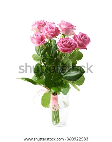 Bouquet of pink roses isolated - stock photo