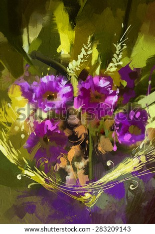 bouquet of purple flowers ,digital painting - stock photo
