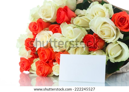 bouquet of red and yellow roses on a white background - stock photo