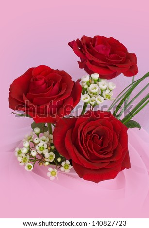 Bouquet of red roses on a pink background - stock photo