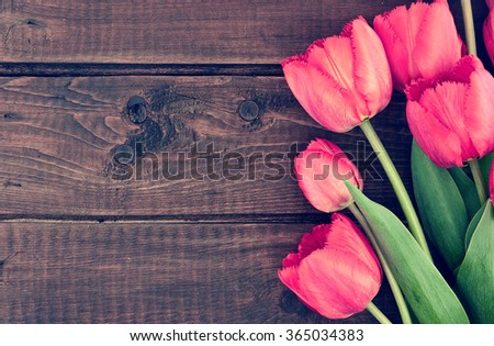 Bouquet of red tulips on a wooden background. Spring flowers. Mother's Day background. Top view - stock photo