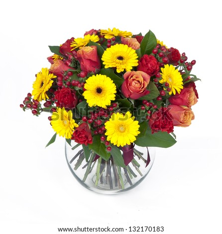 bouquet of roses and gerberas in vase isolated on white - stock photo