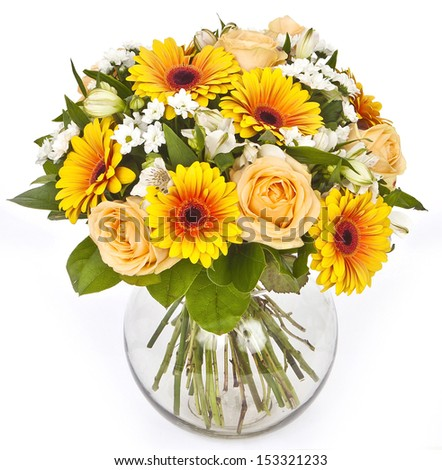 bouquet of roses and gerberas in vase on white background - stock photo