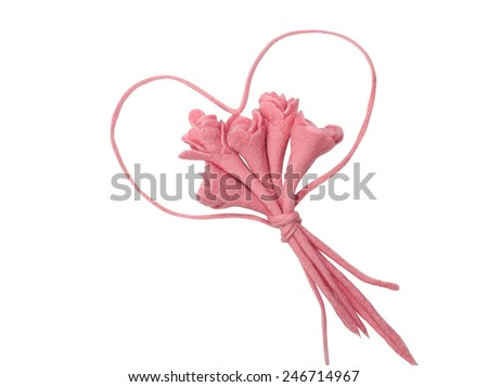 Bouquet of roses and heart silhouette isolated on white background. Heart silhouette - stock photo