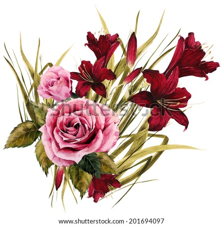 Bouquet of roses and lilies, watercolor, can be used as greeting card, invitation card for wedding, birthday and other holiday and  summer background - stock photo