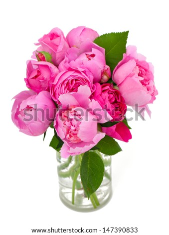 bouquet of roses and peonies isolated on white background - stock photo