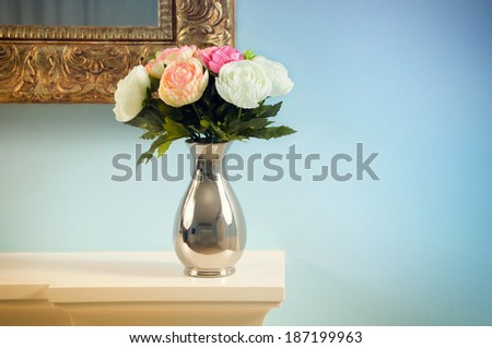 Bouquet of roses.flowers in a vase          - stock photo