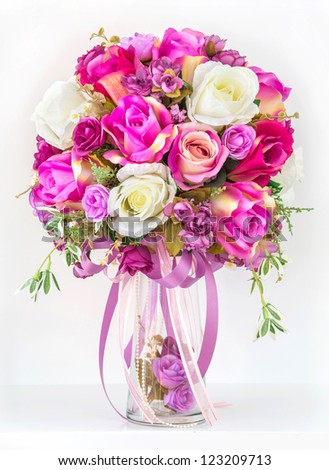 Bouquet of roses in a vase - stock photo