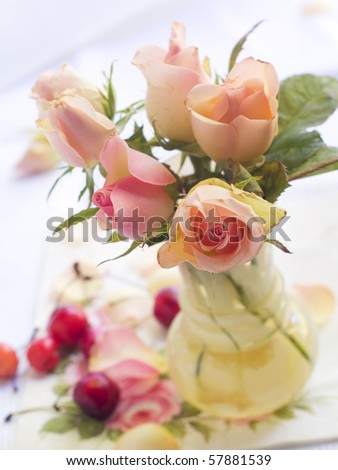 Bouquet of roses in vase - stock photo