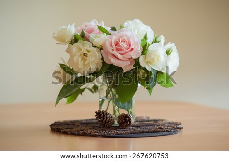 Bouquet of roses in white and rose - stock photo