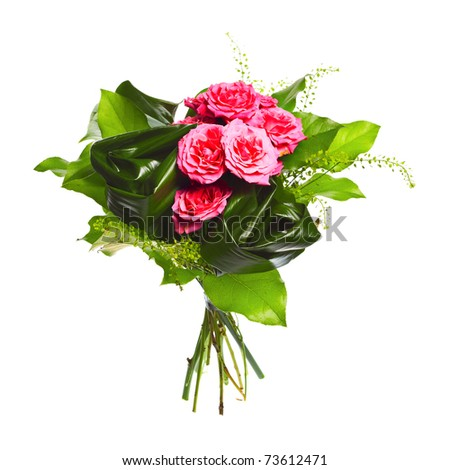 bouquet of roses isolated over white background - stock photo