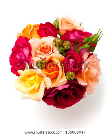 bouquet of roses over white - stock photo