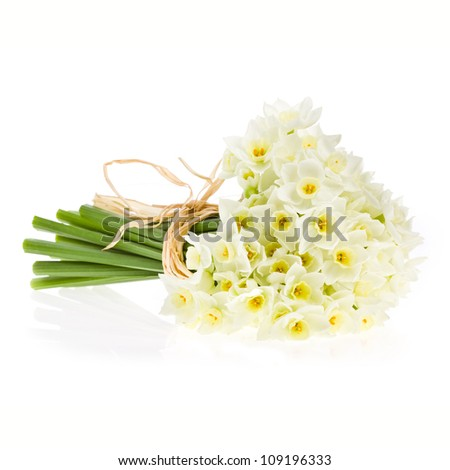 Bouquet of small white daffodil isolated on white background. - stock photo
