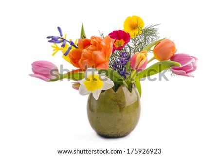 Bouquet of spring flowers isolated on white background  - stock photo