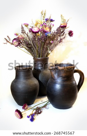 bouquet of straflowers in a clay pots - stock photo
