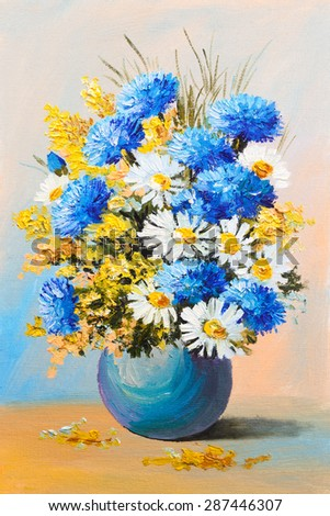 bouquet of summer flowers, still life oil painting - stock photo