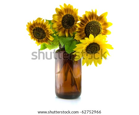 Bouquet of Sunflowers in vase - stock photo