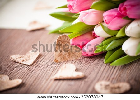 bouquet of tulips and a heart - stock photo