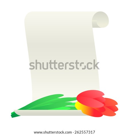 Bouquet of tulips and paper scroll.  illustration. - stock photo