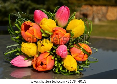 Bouquet of tulips , bunch of flowers  - stock photo