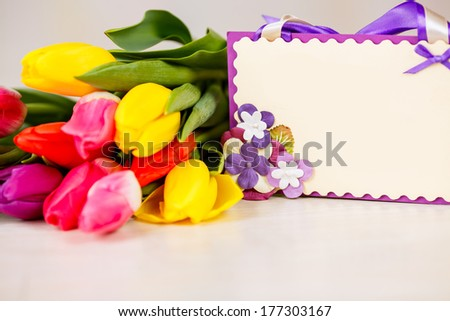 bouquet of tulips. card for congratulations, March 8, International Women's Day, Mother's Day - stock photo