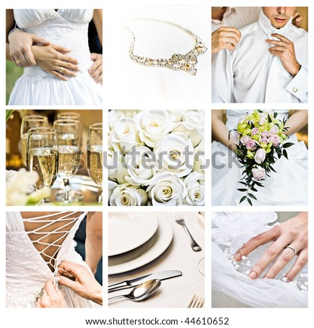 Bouquet of wedding images in color - stock photo