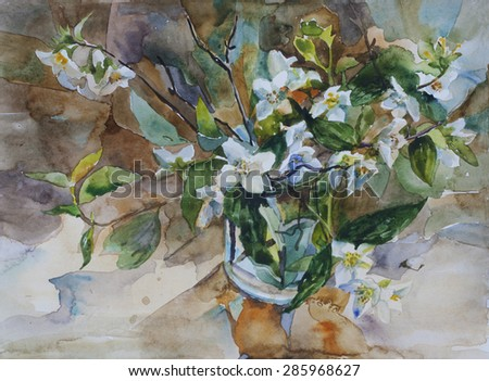 Bouquet of white blossom jasmine in a glass watercolor painting still life classic style - stock photo