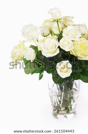 bouquet of white roses  isolated on white background  - stock photo