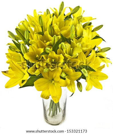 bouquet of yellow lilias in vase on white background - stock photo