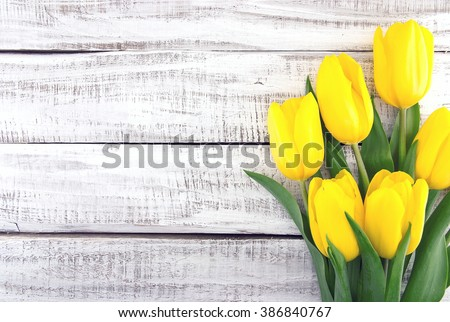 Bouquet of yellow tulips on white rustic wooden background. Spring flowers. Spring background. Valentine's Day and Mother's Day background. Top view. - stock photo