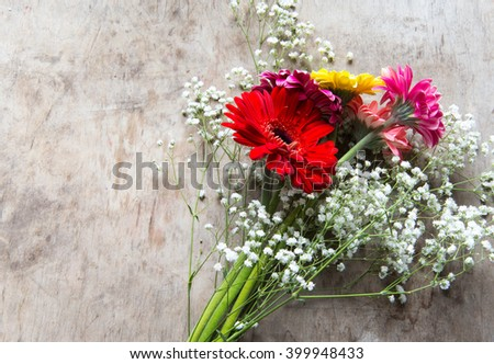 Bouquet with gerbera flowers - stock photo