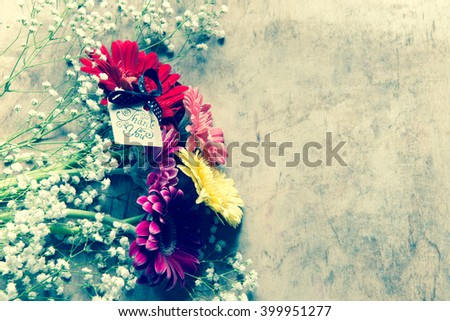 Bouquet with gerbera flowers/thaks concept/toned photo - stock photo