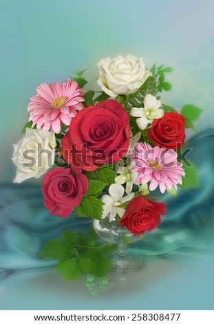 Bouquet with white and red roses in a vase - stock photo