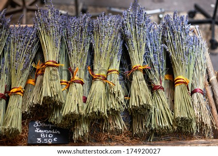 Bouquets of dry lavender or lavandin blossoms for sale on the market of Aix en Provence, France - stock photo