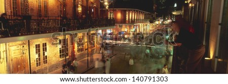 Bourbon Street at the French Quarter in New Orleans, Louisiana - stock photo