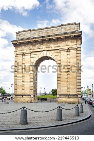 Bourgogne door located at Bordeaux, France.  - stock photo