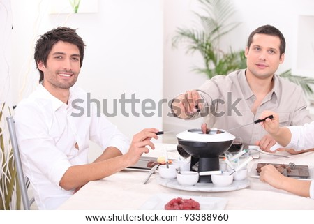 Bourguignon fondue - stock photo