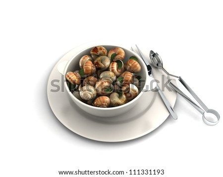 bourguignonne snail au gratin on dish - stock photo